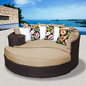Amazon.com: Zen Outdoor Wicker Patio Daybed - Sand: Patio, Lawn ...