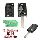 3 ボタン リモート キー 433 mhz + トランスポンダーチップ id46用プジョー 207 307 308 407 607用シトロエン berlingo クサラピカソ