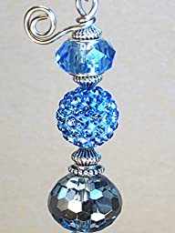 Beautiful Faceted Blue Glass and Faux Rhinestone Ceiling Fan Pull Chain