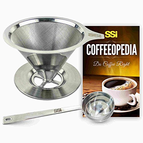 Pour Over Coffee Filter Dripper Kit with Bonus 2 Tablespoon Scoop - All High Quality Stainless Steel Cone Paperless and Reusable Hand Brewer Bundle - Coffover Coffee Drip (Slow Cooker Bag Non Electric compare prices)