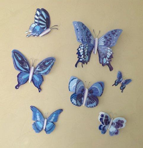gmmh set di 7 farfalle adesive tridimensionali colore. Black Bedroom Furniture Sets. Home Design Ideas