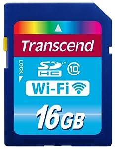 Tarjeta de memoria Flash Wi-Fi de 16 GB de Transcend (SDHC, Clase 10 + adaptador USB para tarjetas SD/MicroSD y seguridad: WEP, WPA, WPA2)