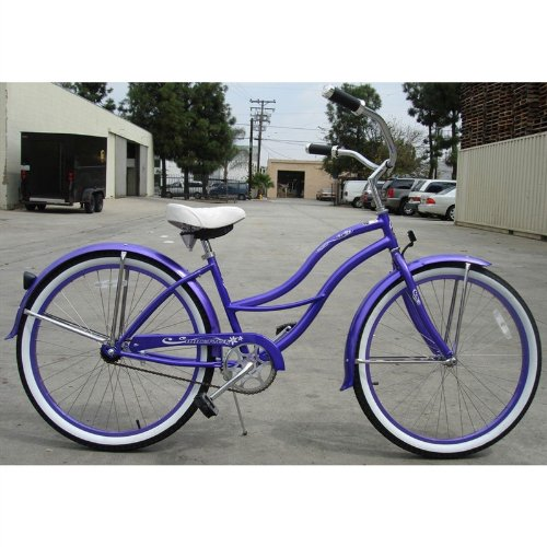 Purple Tahiti Women's Beach Cruiser Bike with 26-inch Wheels