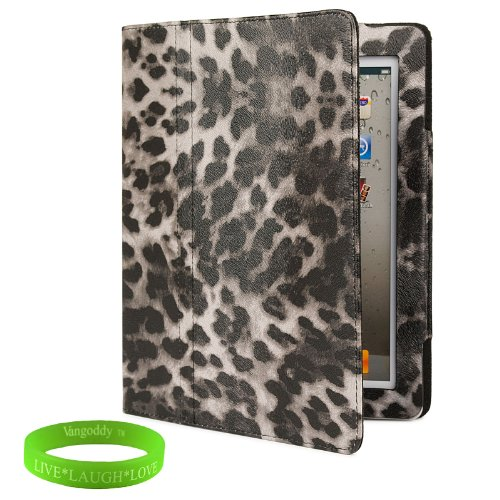 Dark Leopard iPad Skin Cover Case Stand with Screen Flap and Sleep Function for all Models of The NEW Apple iPad (3rd Generation, wifi , + AT&T 3G , 16 GB , 32GB , MD328LL/A , MD329LL/A , MD330LL/A, ect..) + Live * Laugh * Love Vangoddy Trademarked Wrist Band!!!