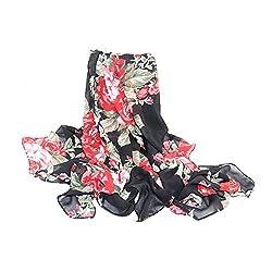 eFuture(TM) Fashion Ladies Style Soft Chiffon Black Butterfly Print Scarf Scarf Wrap +eFuture's nice Keyring