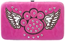 Pink Studded Rhinestone Winged Paw Print Cross Flat Wallet