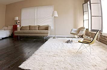 White Flokati Rug Authentic Greek Soft Shaggy Shag Carpet 3ft X 5ft (3x5)  100% New Zealand Wool Top Price