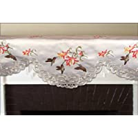 Embroidered mantel Scarf Valance with Hummingbirds and Trumpet Vine Flowers on Cream, 14 by 54 Inch, Machine Washable
