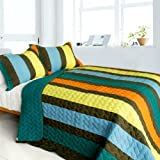 [Time Chain] 3PC Vermicelli-Quilted Patchwork Quilt Set (Full/Queen Size)