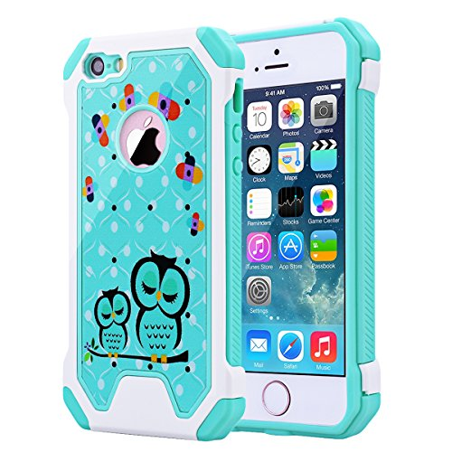 iPhone 5 5S Case, iPhone SE Case, SmartLegend Hybrid High Impact Armor Defender Protective Case Heavy Duty [Anti-slip] Dual Layer Air Cushion Technology Bumper Case for iPhone 5/5S/SE - Owl (Iphone 5s Case Protective Owl compare prices)