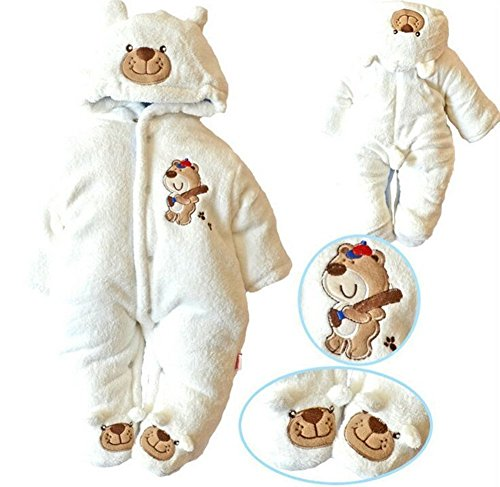Newborn Baby Clothes Girls Boys Romper Winter Jumpsuit Thicken Cotton 0-3M White