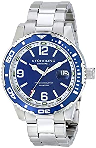 Stuhrling Original Men's 415.02 Aquadiver Regatta Analog Display Swiss Quartz Silver Watch