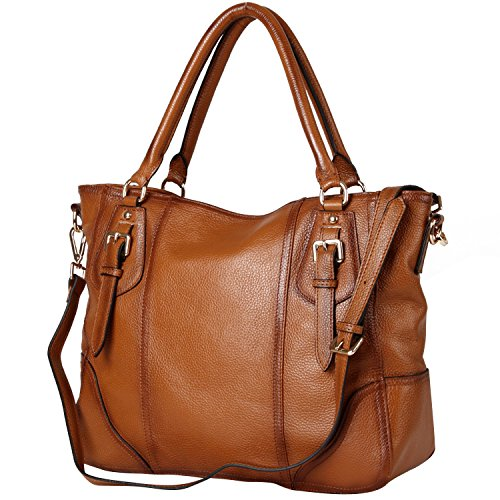 TOP-BAG Large Practical Women Genuine Leather Tote Satchel Shoulder Handbags, SF8048Brown