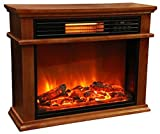 Lifesmart Easy Set 1000 Square Foot Infrared Fireplace Includes Deluxe Mantle In Quakerstown Oak Color & Remote