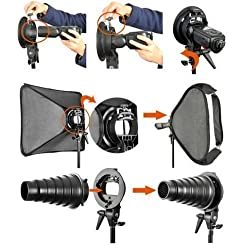 Powerpak S-Type Bracket Holder Bowent Mount for Speedlite Flash Snoot Softbox Beauty Dish Reflector Umbrella