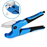 PVC Pipe Cutters Tube Cutter for Cutting O.D. PEX, PVC, and PPR Plastic Hoses and Plumbing Pipes up to 1-1/4 inches, Ratchet-type Pipe and Tube Cutter, 42mm, Ideal for Home Working and Plumbers (Blue) (Color: Blue)