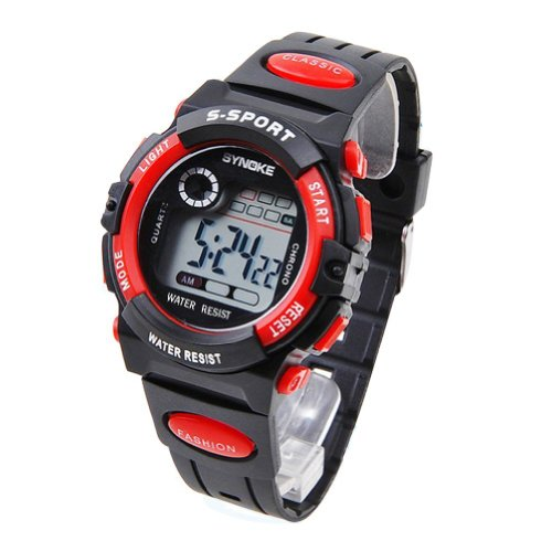 Synoke Unisex Kids Student Watches Fashion Sports Watches With Alarm Chronograph Long Lasting Battery Calendar Noctilucen Wristband Digital Watches (Red)