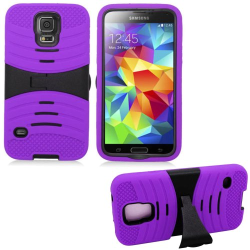 Mylife (Tm) Royal Purple And Black - Shockproof Survivor Series (Built In Kickstand + Easy Grip Ridges) 2 Piece + 2 Layer Case For New Galaxy S5 (5G) Smartphone By Samsung (Internal Flex Silicone Bumper Gel + Internal 2 Piece Rubberized Fitted Armor Prote