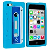 Baby Blue Cassette Retro Tape Silicone Rubber Gel Soft Skin Case Cover for Apple iPhone 5C