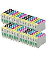 4x Ensemble compatible de 6 + Extra Black cartouches d'encre d'imprimante - Noir / Cyan / Magenta / Jaune / Cyan clair / magenta clair pour remplacer T0807 + T0801 (28 encres) pour une utilisation dans Epson Stylus Photo P50, PX650, PX660, PX700W, PX710W, PX720WD , PX800FW, PX810FW, R265, R285, R360, RX560, RX585, RX685 (Contient: T0801 T0802, T0803, T0804, T0805, T0806)