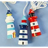 Nautical Theme Lighthouse Light Pull / Dark Blue & White