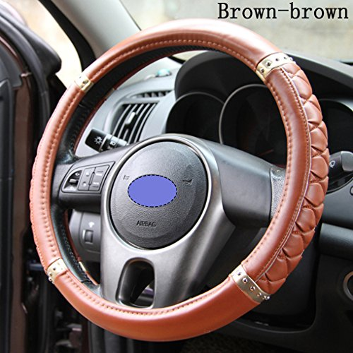 Car Interior Accessories Fashion Car Steering Wheel Cover Imitation Sheepskin Ms. Female Cute Handlebar Four Seasons General for All Car Steering Wheel the Outer Diameter Range 37-38cm (Brown&Brown)