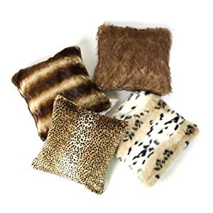 "Best Home Fashion Faux Fur Pillow Covers 18"" X 18"" (Set of 2) - Chinchilla - PW"