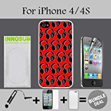 buy Headphones Dj Pattern Red Custom Iphone 4 Cases/4S Cases-White-Plastic,Bundle 3In1 Comes With Hd Screen Protector/Universal Stylus Pen By Innosub