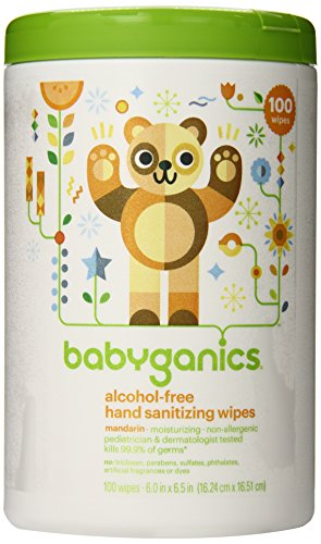 Babyganics Alcohol-Free Hand Sanitizer Wipes, Mandarin, 100 Count canister (Pack of 2), Packaging May Vary