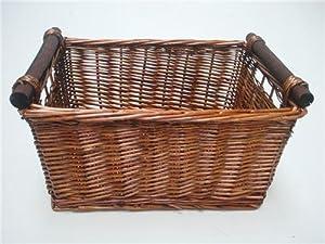 WICKER STORAGE BASKET, KITCHEN, TOY, LOG BASKET brown(medium) 38x30x20cm (JN99049