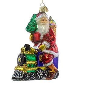 Santa On Train Old World Christmas Glass Ornament