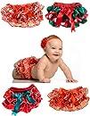 Baby Christmas Satin ruffle Diaper Bl…