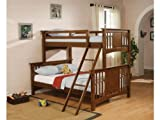 Twin Full Size Bunk Bed in Dark Cherry Finish