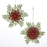 """Club Pack of 12 Snowflake and Flower Glitter Christmas Ornaments 5.5"""""""