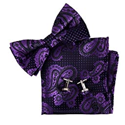 BT2118 Purple Patterned Collection Design Presents Idea Marriage Silk Pre-tied Bowtie Cufflinks Hanky By Epoint