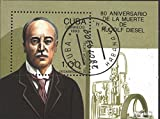 Stamps for collectors: Cuba block132 (complete.issue.) fine used / cancelled 1993 80. Death Rudolf Diesel
