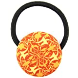 Orange Yellow Light Mahogany Art Nuvo Filigree Printed Silk Screen Woven Fabric Covered Button Hair Elastic