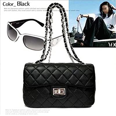 Women Fashion Shoulder Bag Quilting Chain Cross Korean Ladies Handbag Black