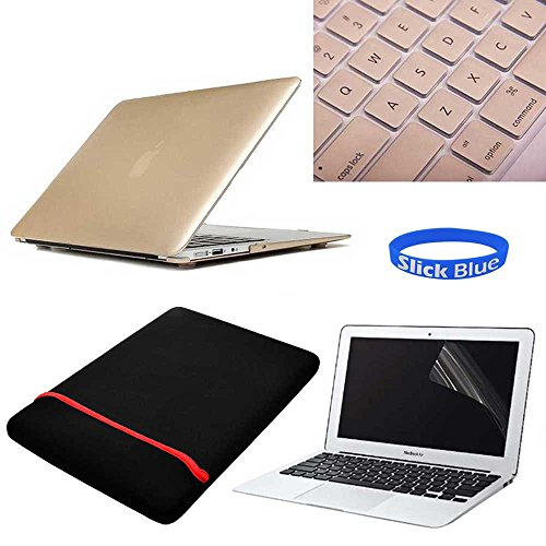 """Slickblue (Tm) 4 In 1 Kit For Macbook Air 13"""" A1369 A1466-Rubberized Matte Frost Hard Shell Case + Screen Protector + Sleeve- Gold front-352697"""