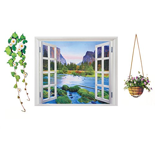 Lake And Mountain View Window Wall Decal Wall Pediments