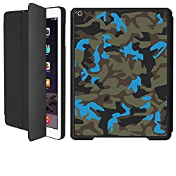 iPad 2/ iPad 3/ iPad 4 Smart Case Flip Cover (Black)- Neon Blue Camouflage -Limited Edition Designed by Nik-L
