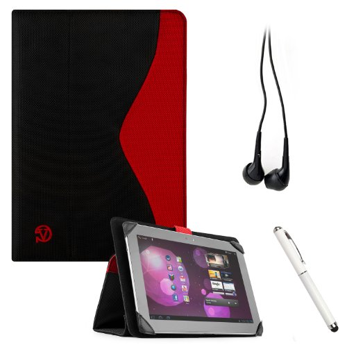 Soho Padfolio Smart Stand Alone Cover Case Durable Premium Design For Coby Kyros Mid1065 / Mid1045 / Mid1042 / Mid1125 / Mid1126 / Mid9742 / Mid9042 Android Touch Screen Tablet Mobile Computer + Crystal Clear High Quality Hd Noise Filter Ear Buds ( 3.5Mm