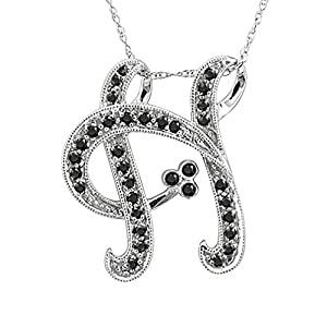 14k White Gold Alphabet Initial H Black Diamond Pendant Necklace (1/5 Carat)