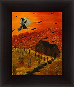 Halloween Night by Phyllis Spaw Witch Flying on a Broom Framed Art Print Wall Decor