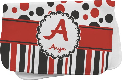 Red & Black Dots & Stripes Personalized Burp Pad front-693365