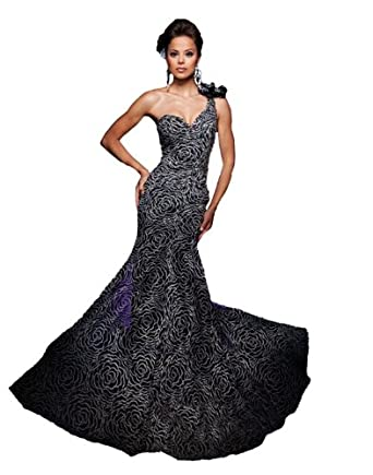 Tony Bowls TBE11109, One-shoulder mermaid-style gown with swirling rosette pattern by Tony Bowls 2011 Evening