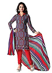 RUDRA FASHION WOMEN'S RED COTTON SALWAR SUIT DRESS MATERIAL WITH COTTON DUPATTA.DS-2116
