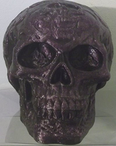 "3d Printed Purple Skull Bank with Removable Plug in a Gift Box (5""x 5""x4"")"