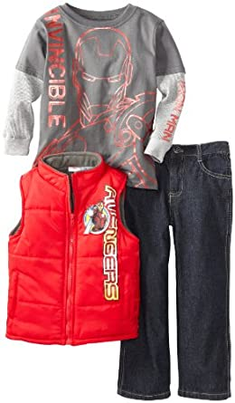 Marvel Boys 2-7 3 Piece Avengers Iron Man Vest, Pullover And Pant, Red, 3T