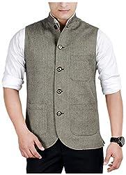 Suchos Men's Poly Cotton Shirt (SJ20, Grey, L)